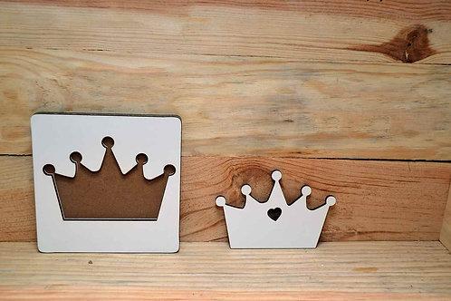 Faire-part en bois blanc couronne puzzle