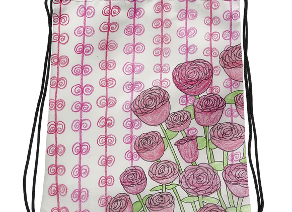 """Roses"" Drawstring Bag"