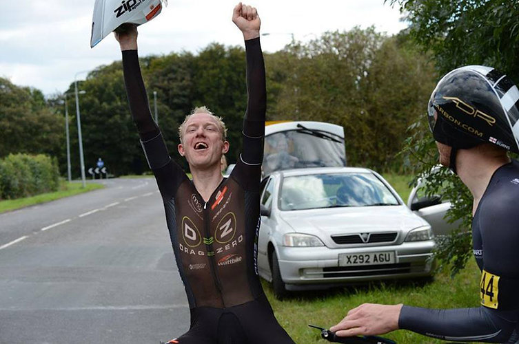cycling coach matt bottrill celebrating
