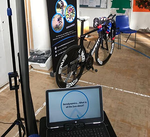 cycling coach laptop and bike