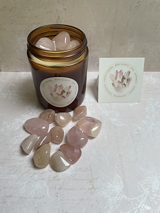 Rose quartz aromatherapy candle - positive vibes scent