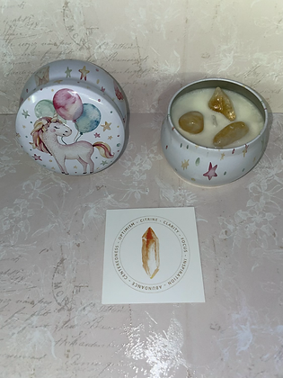 Unicorn with citrine crystal candle