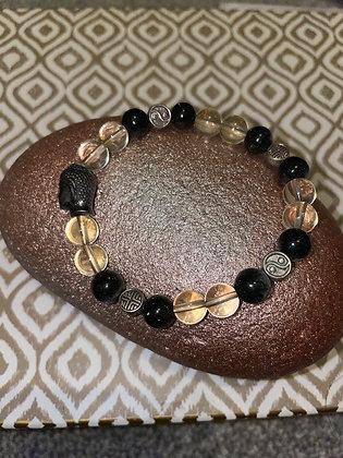 Blue tigers eye and quartz with Tibetan beads