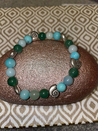 Aventurine with shell spacer beads