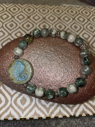 Moss Jasper with seahorse bead