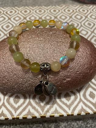 Lemon and yellow quartz bracelet with live love laugh charm