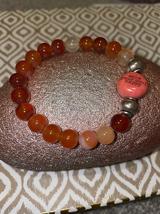 Amber with ceramic make your soul happy charm