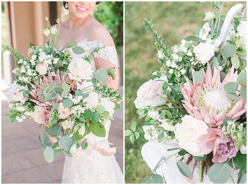 large messy bouquet with protea for albuquerque wedding ideas