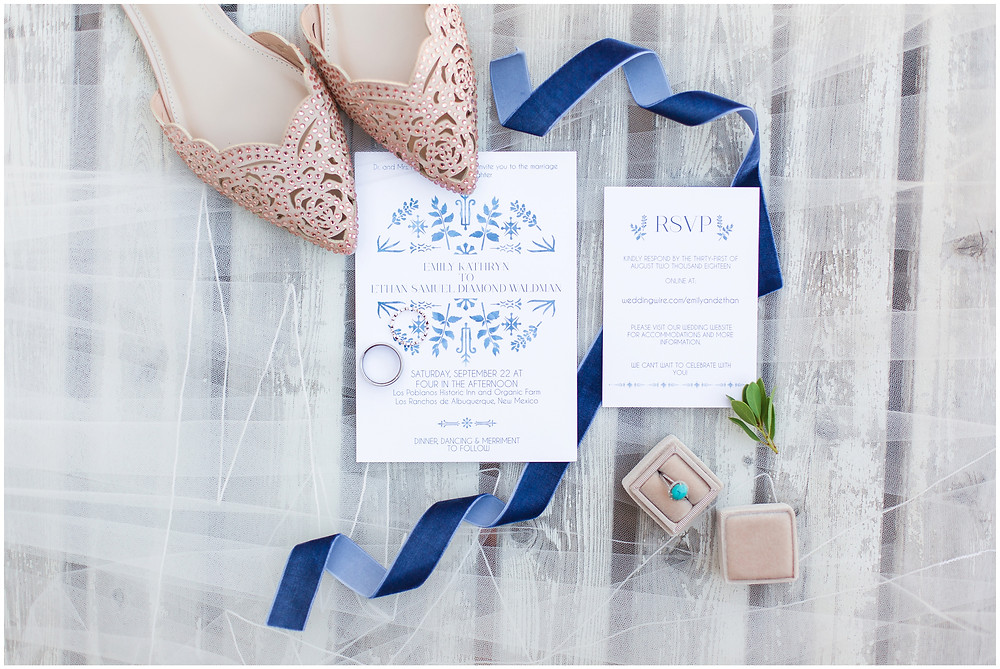 Wedding at Los Poblanos. Summer wedding New mexico. Outdoor wedding venue albuquerque. New Mexico Wedding Photographer. wedding shoes wedding flats. New Mexican wedding invitations