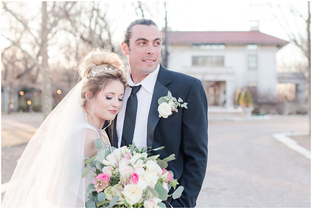 Estate wedding. Bridal tiara. Blonde bride. Green eye wedding make up. Big messy bouquet. bouquet with peonies and roses. groom with man bun. bride and groom portraits laughing