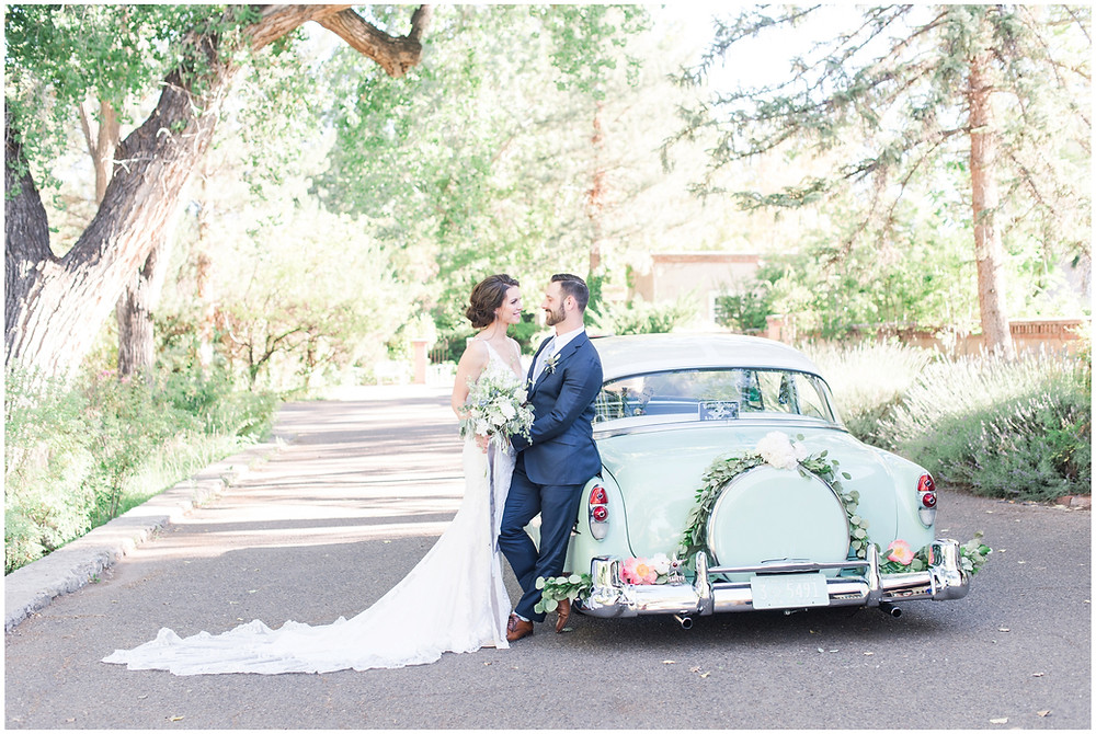 Wedding at Los poblanos. dusty blue wedding. new mexico wedding venue. outdoor wedding. spring wedding. albuquerque wedding. new mexico wedding photographer. maura jane photography. vintage wedding car