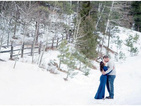 Vicki + Sean | Snowy Winter Santa Fe Engagement
