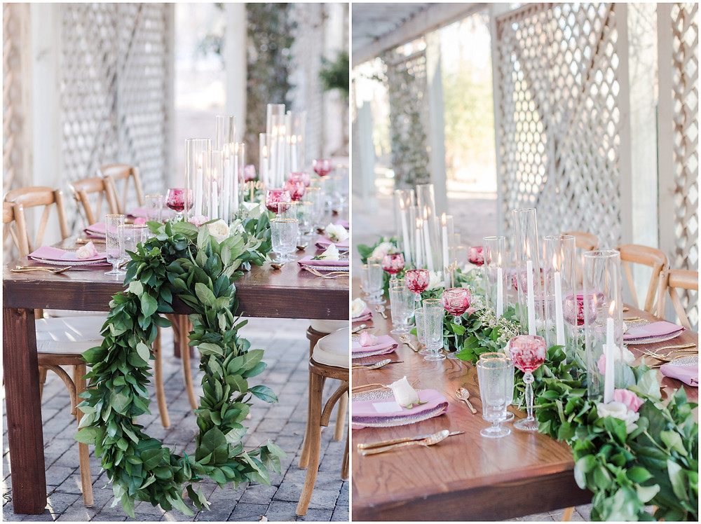 backyard reception idea. Backyard dinner party seating. Wedding reception table decor. Table garland. bistro light. backyard dinner ideas. Wedding seating. Place setting for wedding. Pink wedding reception. candles on reception tables