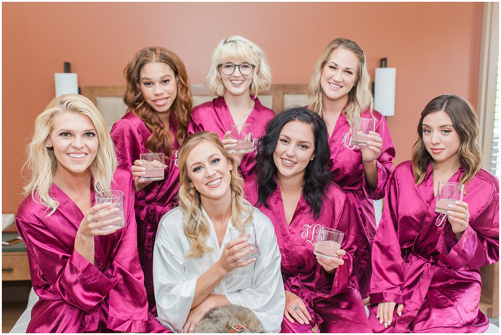Wedding at Hyatt Tamaya. Outdoor wedding New Mexco. New Mexico Wedding photographer. maura Jane photography. bridesmaids robes