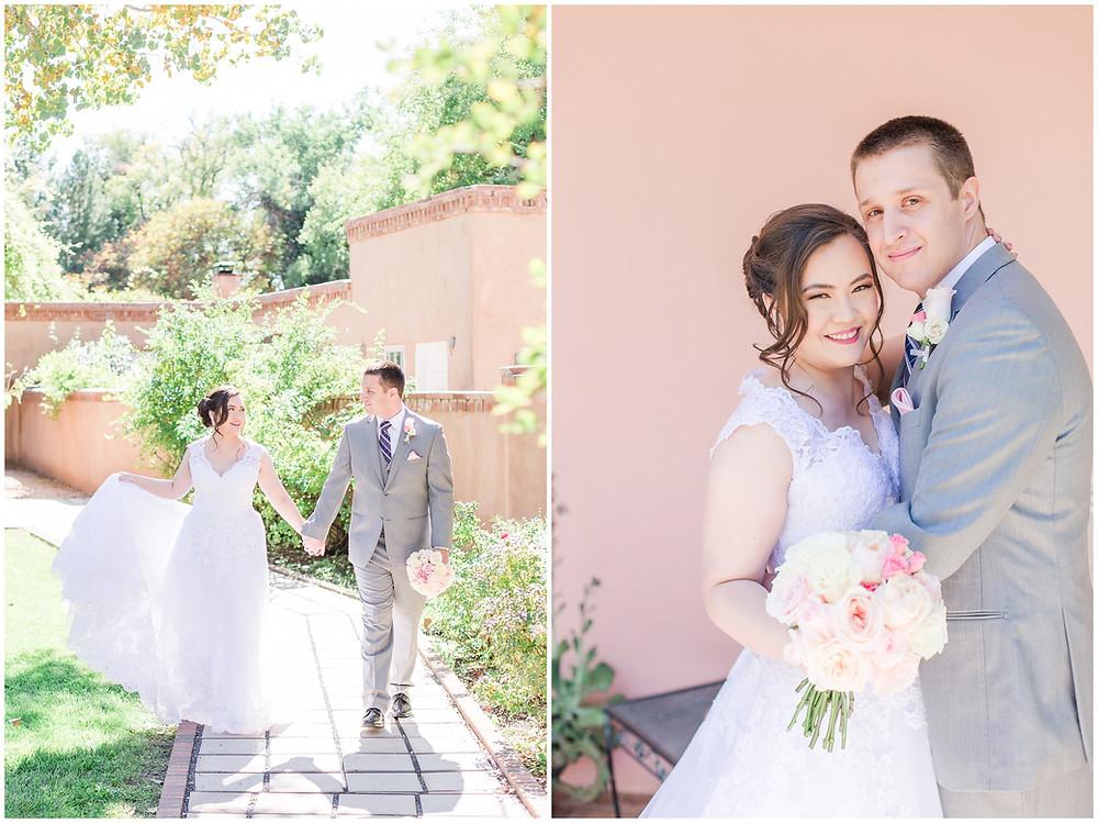 Garden wedding. Los Poblanos wedding venue. Los Poblanos wedding. New Mexico wedding photographer. Albuquerque wedding photographer. Ballgown wedding dress. Pink rose bouquet. Elegant bouquet. Classic bouquet. Small bouquet.