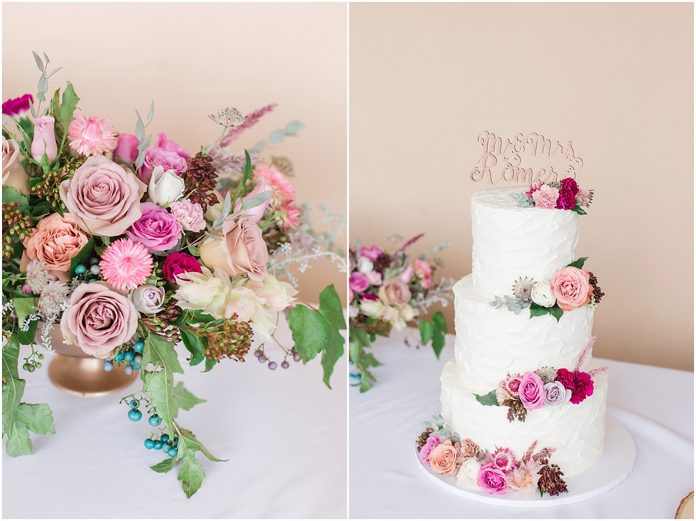 wedding at hotel albuquerque. new mexico wedding. outdoor wedding new mexico. albuquerque wedding. new mexico wedding photographer. Maura jane photography. Pink wedding. summer wedding. pink wedding bouquet. pink bridesmaids dresses. summer wedding. outdoor ceremony. pink floral wedding cake.