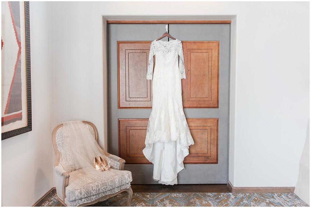 Wedding at Tamaya. New Mexico Wedding Photographer. Fall Wedding in Albuquerque. Maura Jane Photography. Long sleeve wedding dress. Winter wedding