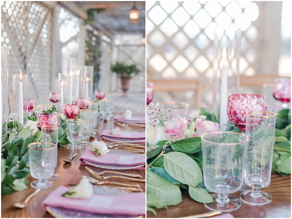 backyard reception idea. Backyard dinner party seating. Wedding reception table decor. Table garland. bistro light. backyard dinner ideas. Wedding seating. Place setting for wedding. Pink wedding reception