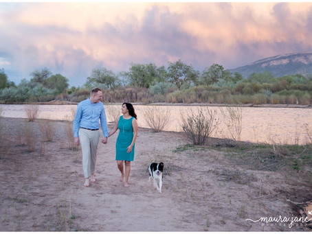 Kelly + Alex | A River Sunset Engagement