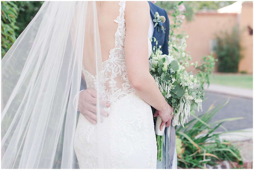 Wedding at Los poblanos. dusty blue wedding. new mexico wedding venue. outdoor wedding. spring wedding. albuquerque wedding. new mexico wedding photographer. maura jane photography. backless wedding dress