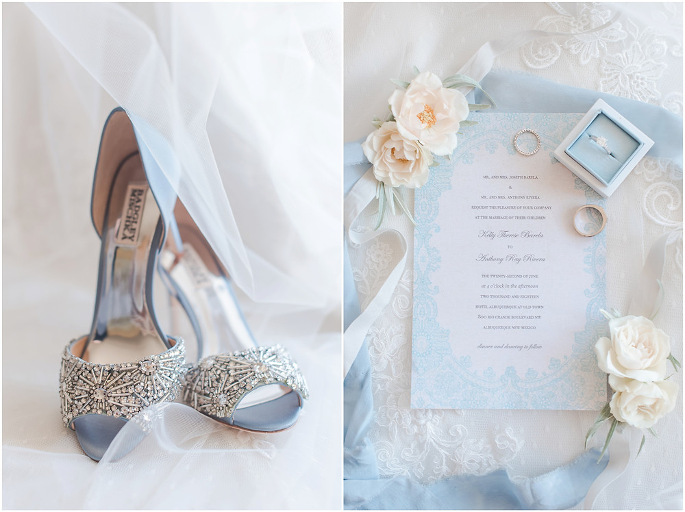 wedding invitation, badgley mischka shoes elegant dusty blue wedding. new mexico wedding photographer