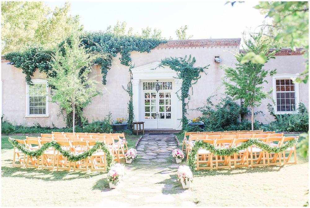 Los Poblanos wedding venue. Los Poblanos wedding. New Mexico wedding photographer. Albuquerque wedding photographer. Ballgown wedding dress. Pink rose bouquet. Elegant bouquet. Classic bouquet. Small bouquet. Los Poblanos wedding ceremony.