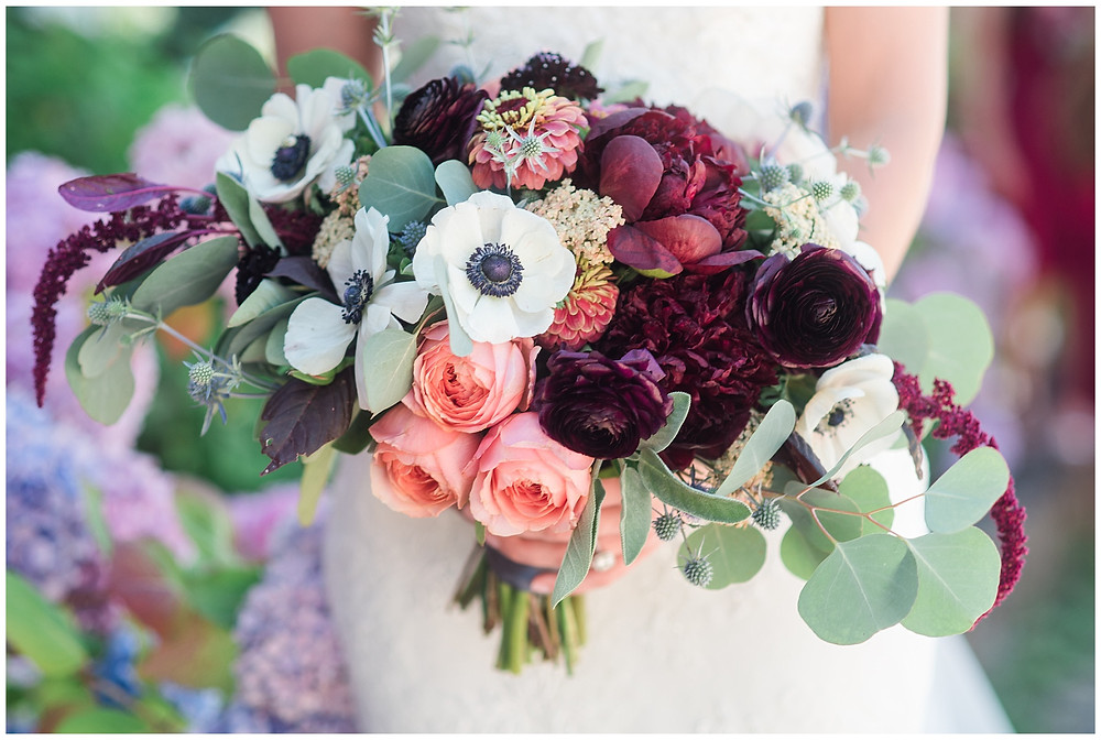 wine and burgundy colored bridal bouquet for albuquerque bride