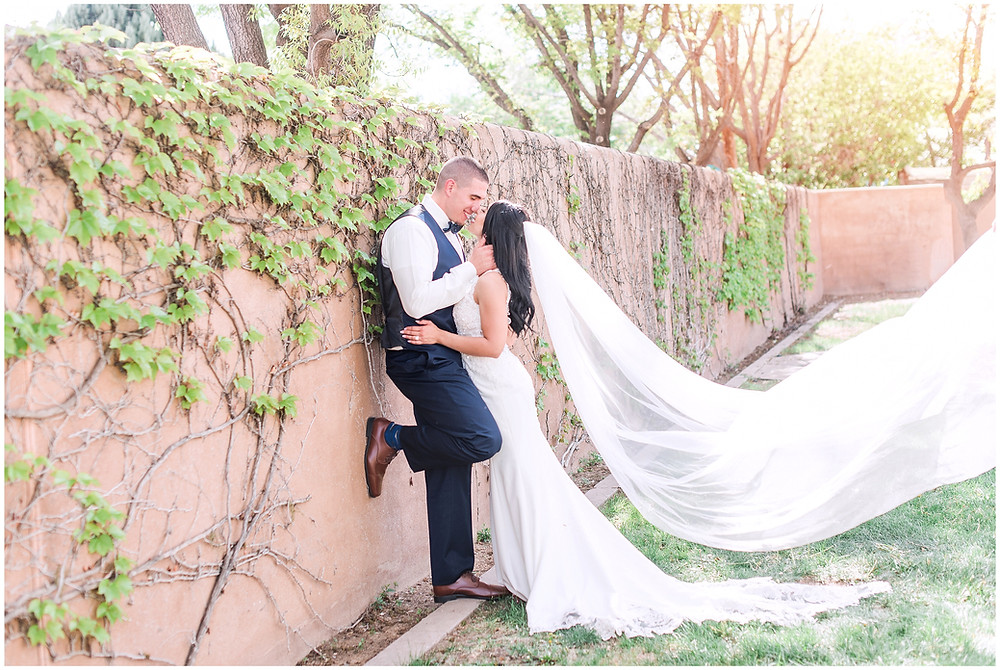 Bride and groom kissing in wedding attire. Cathedral length wedding veil. Veil toss wedding photo