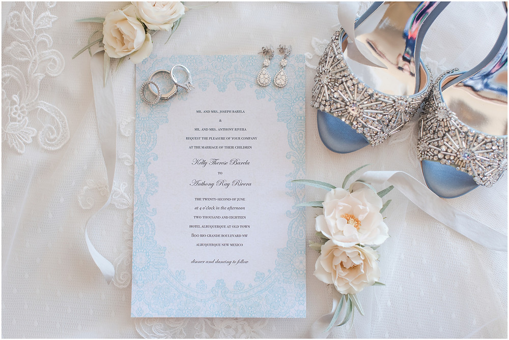 wedding invitation, badgley mischka shoes. elegant dusty blue wedding. new mexico wedding photographer
