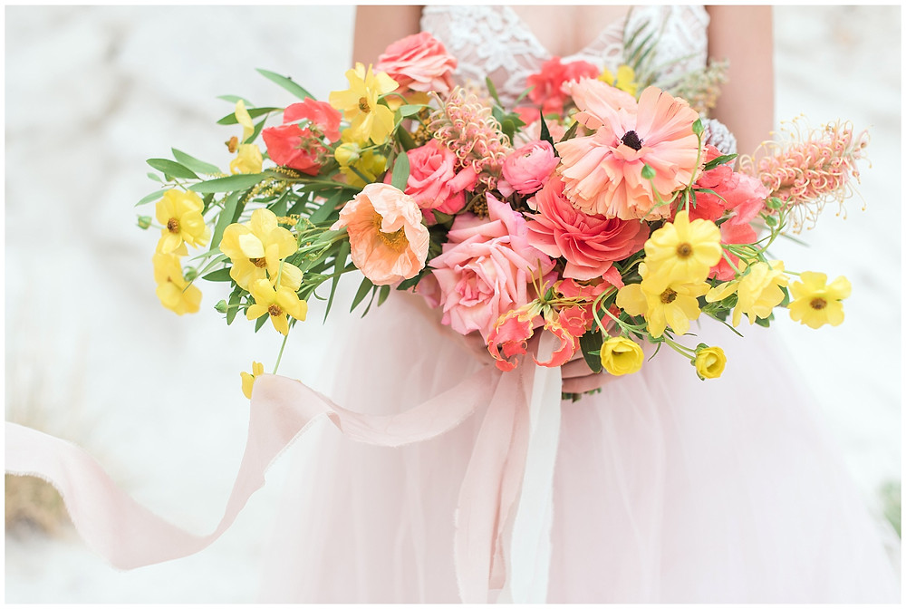 bright colorful fiesta wedding flowers bouquet in albuquerque