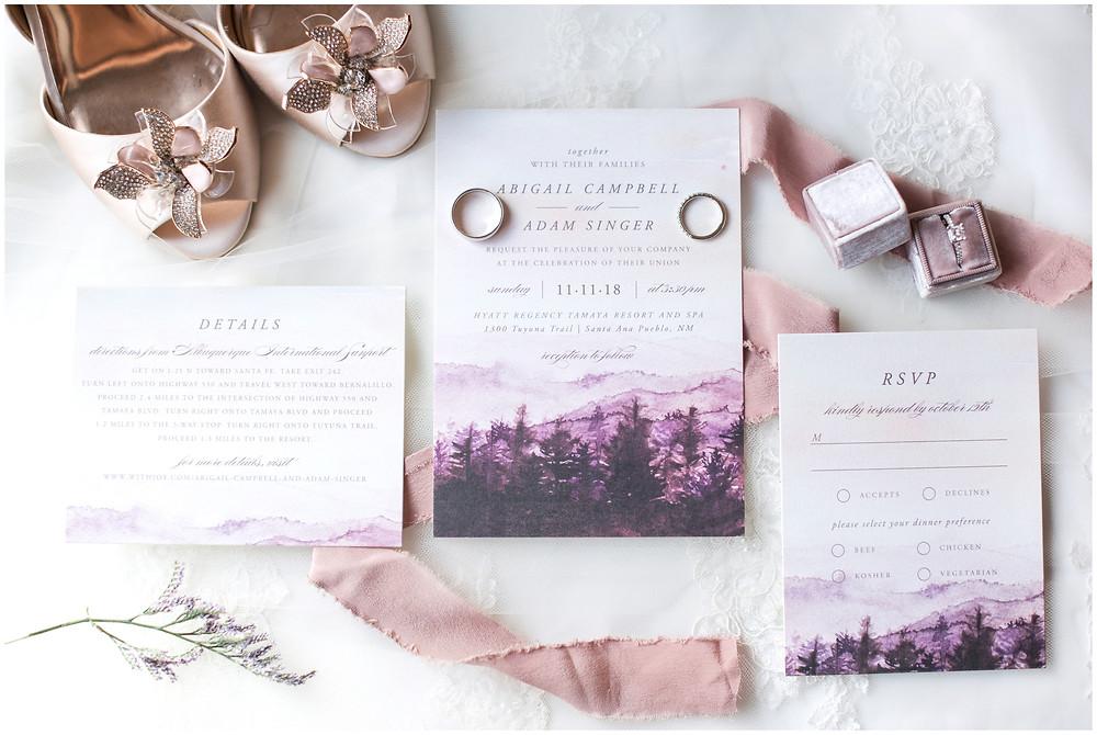 Wedding at Tamaya. New Mexico Wedding Photographer. Fall Wedding in Albuquerque. Maura Jane Photography.  purple invitations. purple wedding. wedding shoes