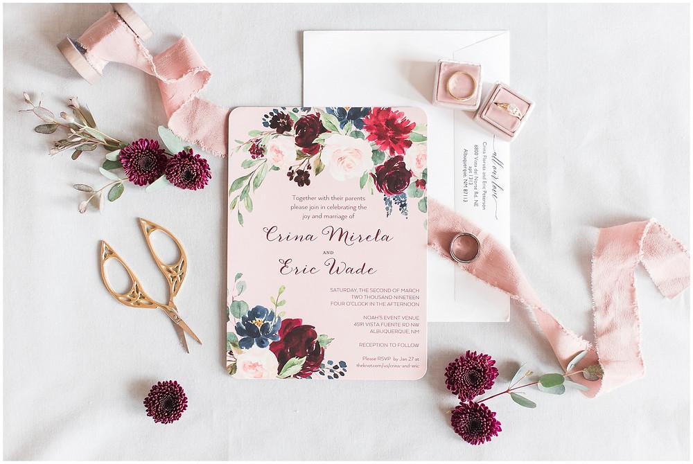 New Mexico wedding photographer. Albuquerque wedding photographer. Noahs event venue wedding. Pink and burgundy wedding. outdoor wedding portraits. pink wedding invitations