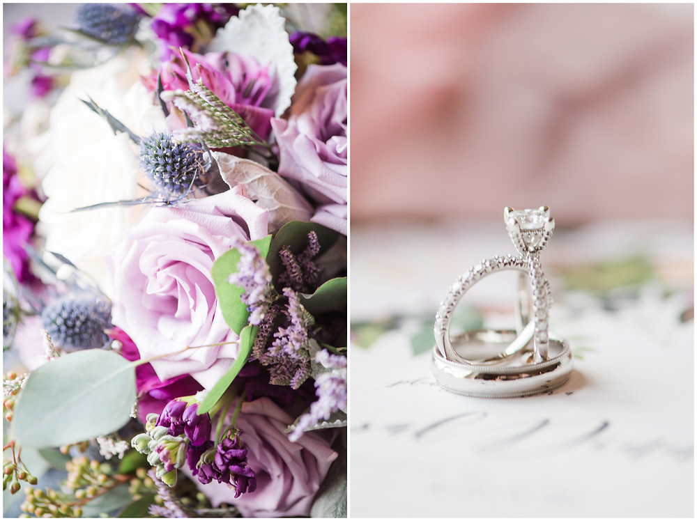Wedding at Tamaya. New Mexico Wedding Photographer. Fall Wedding in Albuquerque. Maura Jane Photography. Long sleeve wedding dress. Winter wedding. Princess cut ring. Purple wedding bouquet.