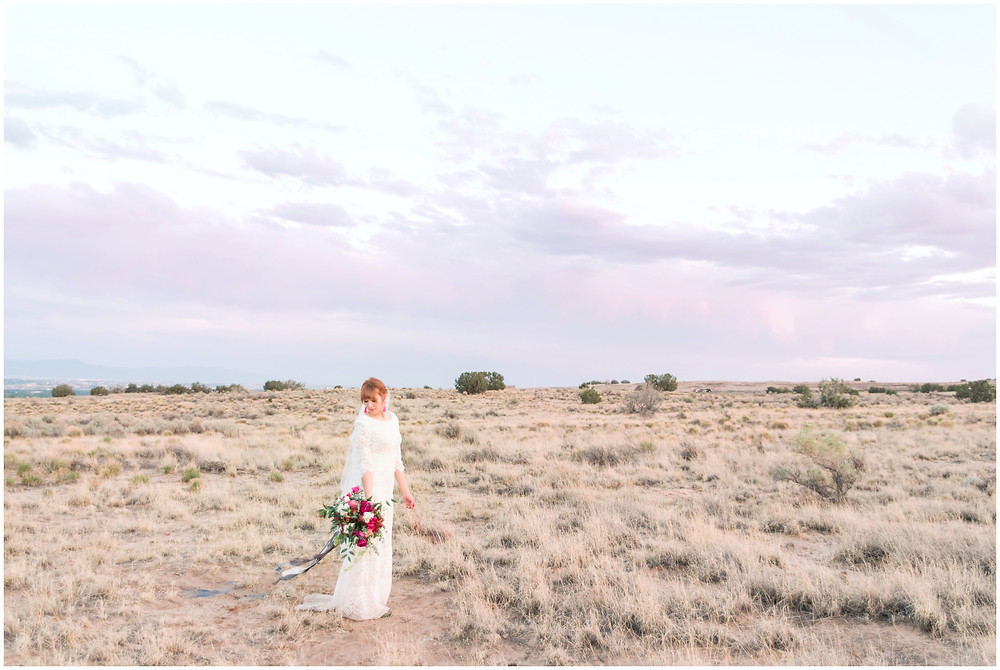 New Mexico Elopement. New Mexico Weding photographer. New Mexico wedding. Casa Parea wedding. Bright Pink wedding. Red Head Bride. Navy wedding. long sleeve wedding dress. new mexico sunsets