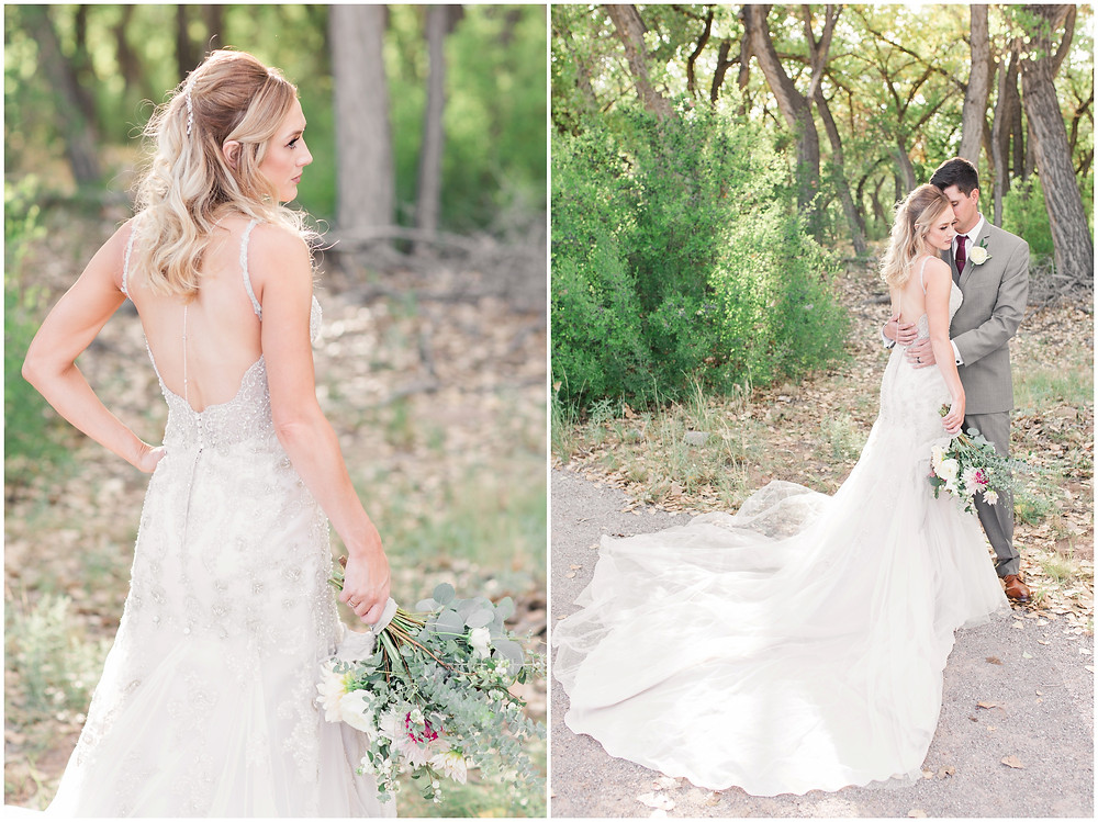 Wedding at Hyatt Tamaya. Outdoor wedding New Mexco. New Mexico Wedding photographer. maura Jane photography. burgundy wedding. bride and groom photos. backles wedding dress