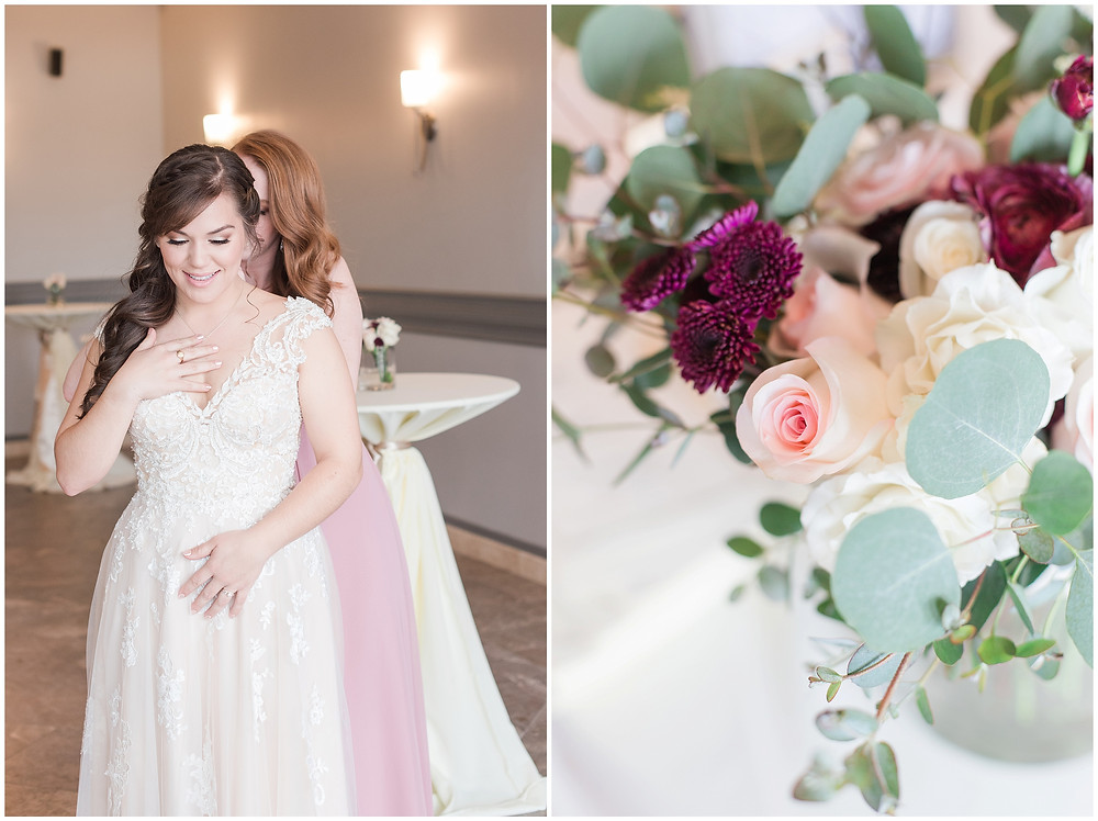 New Mexico wedding photographer. Albuquerque wedding photographer. Noahs event venue wedding. Pink and burgundy wedding. outdoor wedding portraits. bride getting ready. bridal flowers