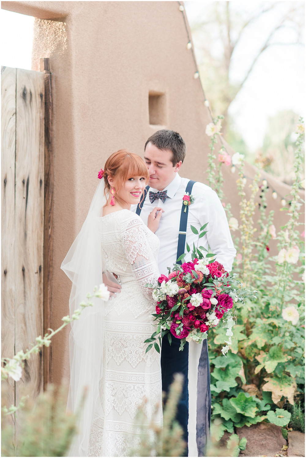 New Mexico Elopement. New Mexico Weding photographer. New Mexico wedding. Casa Parea wedding. Bright Pink wedding. Red Head Bride. Navy wedding. long sleeve wedding dress