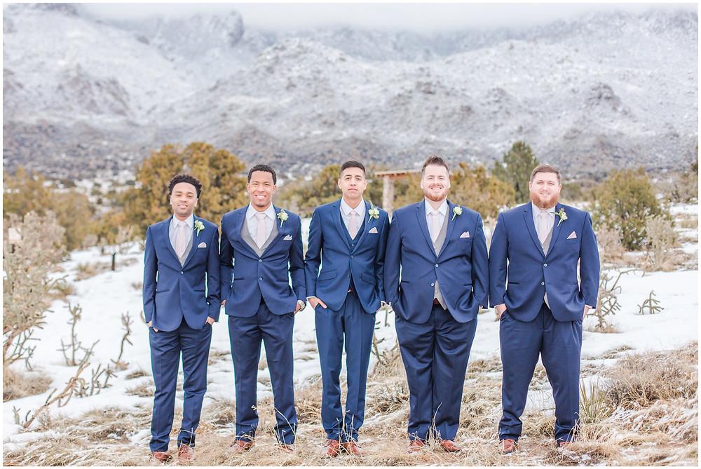 Winter Wedding. Mountain Wedding. Snowy wedding. Navy blue groomsmen, pink bridesmaids, strapless wedding dress. Navy and pink wedding. New Mexico wedding. Albuquerque wedding. Outdoor wedding New Mexico. New mexico wedding photographer. Albuquerque wedding photographer.