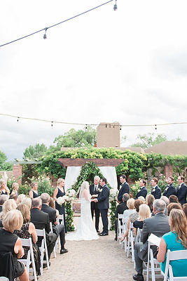 summer wedding ceremony at La Posada Santa Fe foutain