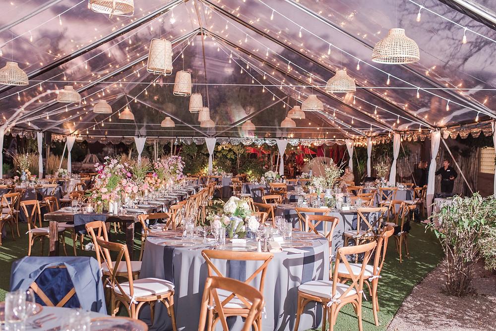 Wedding reception tents. Trendy wedding reception. Beautiful wedding reception. Garden wedding reception. La Posada wedding reception. La Posada Resort and Spa. La Posada de Santa Fe. Weddings at La Posada.