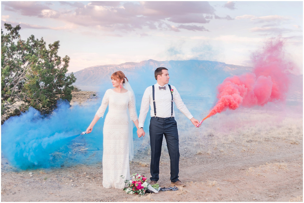 New Mexico Elopement. New Mexico Weding photographer. New Mexico wedding. Casa Parea wedding. Bright Pink wedding. Red Head Bride. Navy wedding. long sleeve wedding dress. smoke bomb wedding