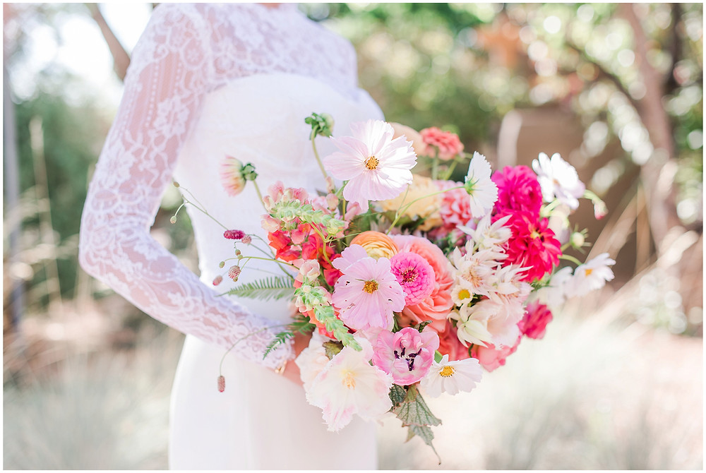 Colorful bouquet. Wildflower Bouquet. Messy Bouquet. Trendy Bouquet. 2020 Bouquets. Lace Wedding Dress. Classic Wedding Dress. Classic Bride. Trendy Bride. Santa Fe Wedding. Santa Fe Wedding Photographer. New Mexico Wedding. New Mexico Wedding Photographer. La Posada Wedding. La Posada Santa Fe.