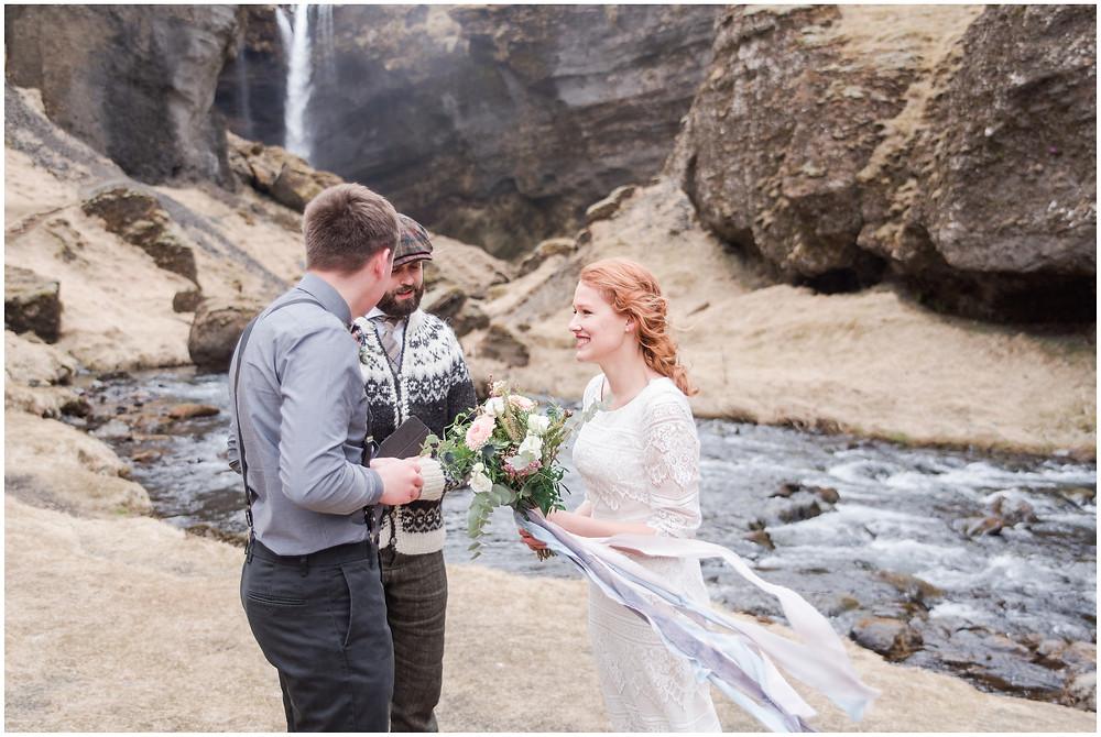 Kvernufoss iceland. Icelandic Elopement inspiration. elopement at Icelandic waterfall