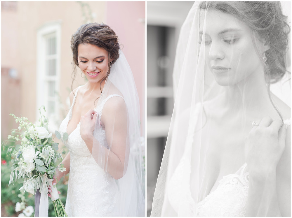 Wedding at Los poblanos. dusty blue wedding. new mexico wedding venue. outdoor wedding. spring wedding. albuquerque wedding. new mexico wedding photographer. maura jane photography. veil photos