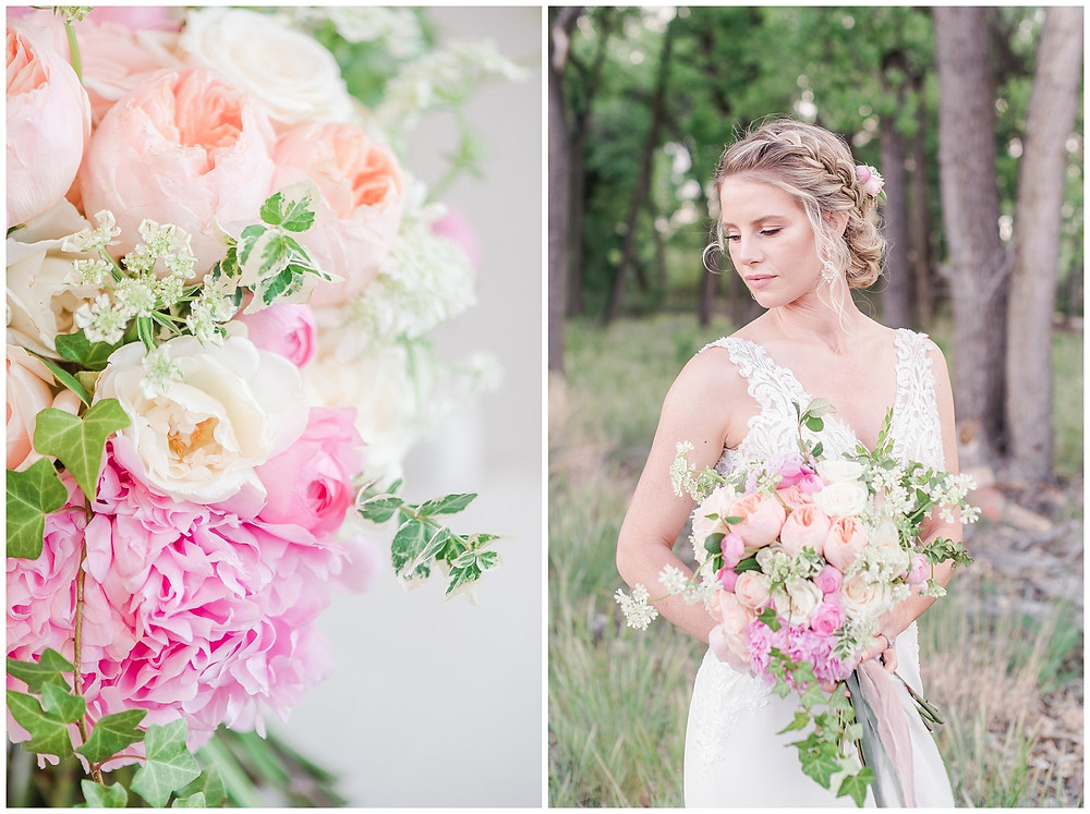 feminine and romantic peony bridal bouquet