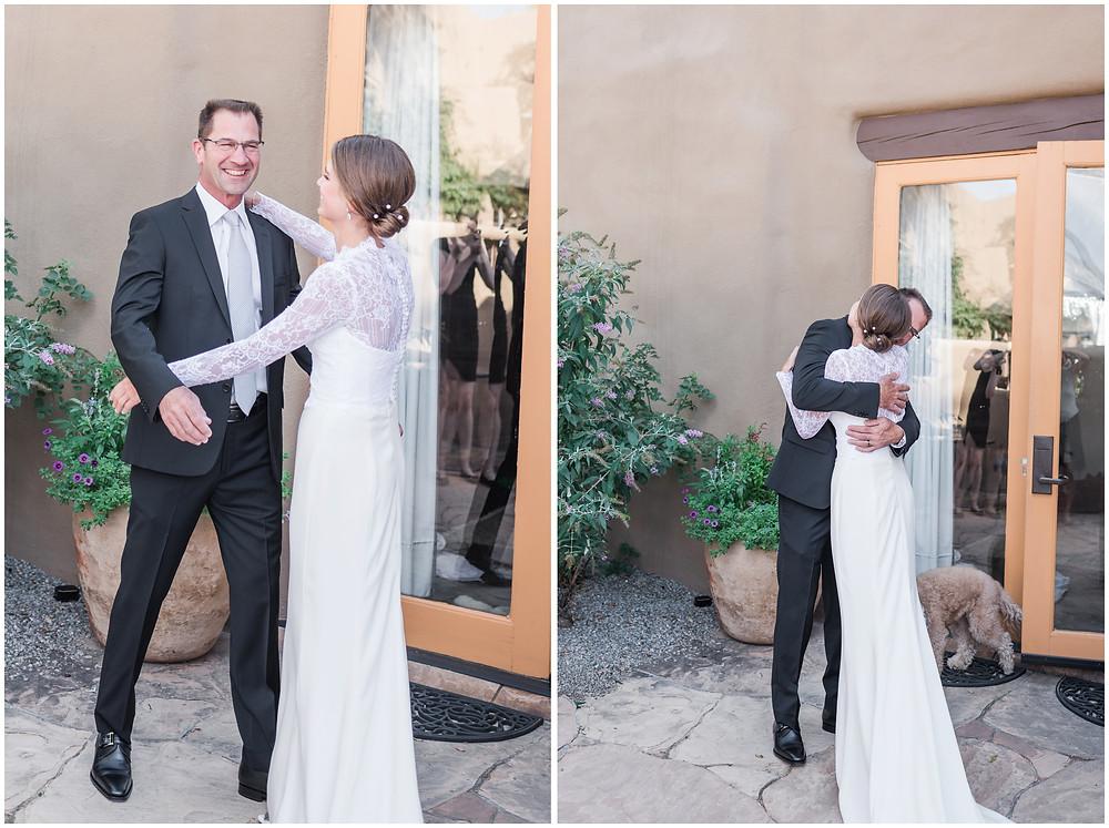 Father daughter first look. Wedding inspiration. La Posada Resort and Spa. La Posada de Santa Fe. Weddings at La Posada.