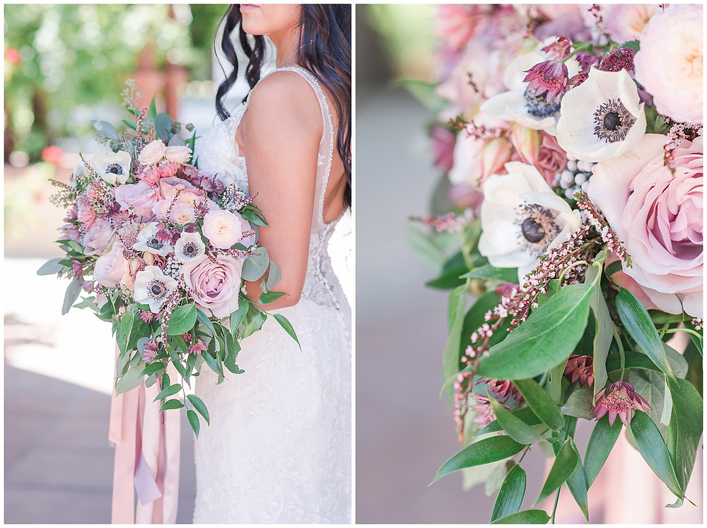 girly and pink big bridal bouquet for new mexico wedding