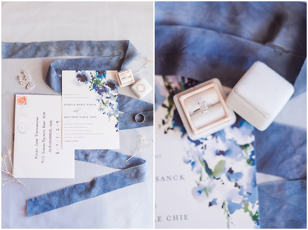 Blue invitations, blue wedding, navy wedding, Santa Fe wedding, Santa Fe wedding photographer