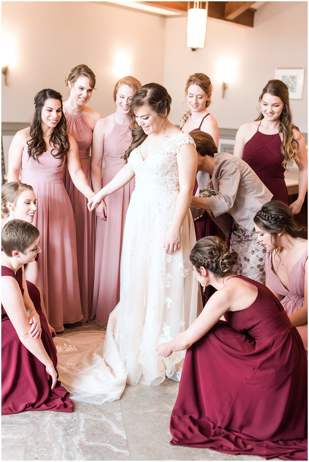 New Mexico wedding photographer. Albuquerque wedding photographer. Noahs event venue wedding. Pink and burgundy wedding. outdoor wedding portraits. bride and bridesmaids. bride getting ready