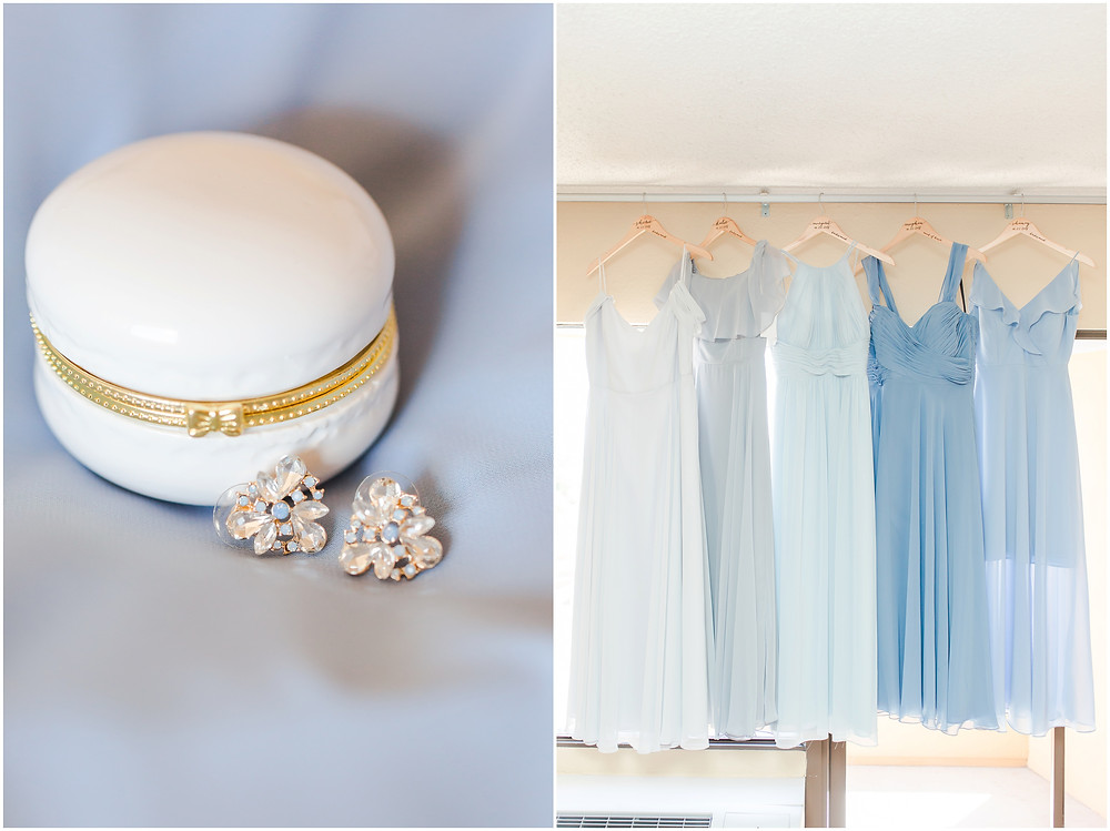 elegant dusty blue wedding. new mexico wedding photographer. blue bridesmaids. mismatched bridesmaids